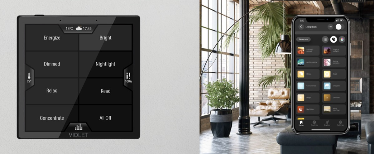 Hueblog: Violet SmartSwitch: Light switch with color display controls Philips Hue lamps